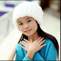 Russian Hot Sale Children Knitted Rabbit Fur Hats Girl Winter Warm Beanie Hat Real Fur Solid Hat scarf Cap Free Shipping QMH65