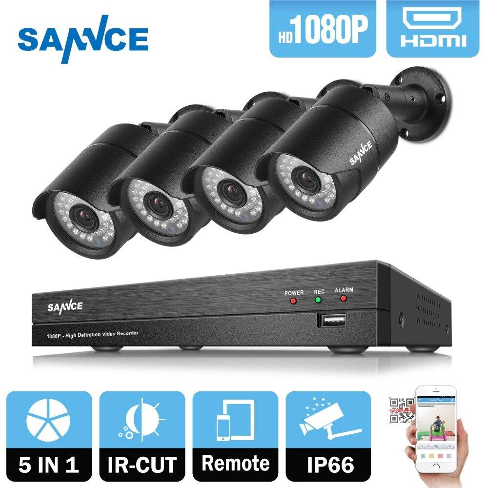 SANNCE 4CH 1080 p HD CCTV Système 2400tvl DVR 4 pcs 2.0MP IR night Vision Security caméras 1080 p Vidéo kit de Surveillance