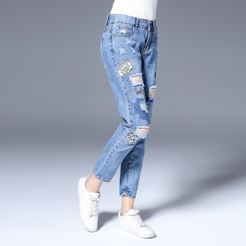 ФОТО 2017 Women Hole Ripped Jeans Female Plus Size Vintage Blue Denim Pants Casual Brand Fashion Loose Pencil Pants 92005