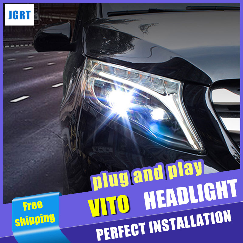 Car Styling Headlight assembly 2017 for Benz vito LED DRL Lens Double Beam H7 hid kit with 2pcs. hireno headlamp for peugeot 4008 5008 headlight headlight assembly led drl angel lens double beam hid xenon 2pcs