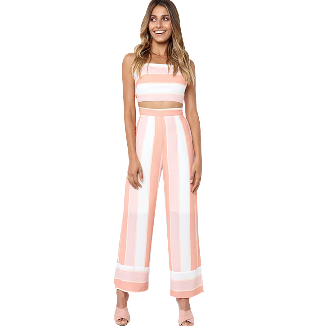 5f6ad4c8dd20 Off Shoulder Sexy Bodysuit Two Piece Wide Leg Pant Jumpsuits For Women 2018  Summer Rompers Strapless