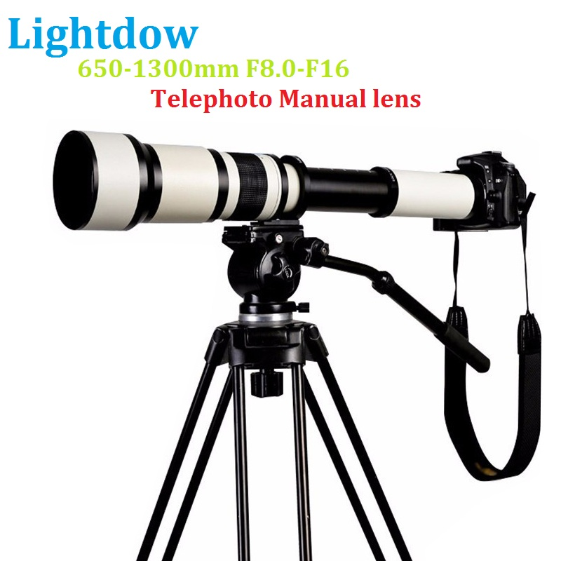 Lightdow 650-1300 F8.0-F16 Super Telephoto Manual Zoom Lens + T2 Adapter Ring untuk Canon Nikon Sony Pentax DSLR Kamera