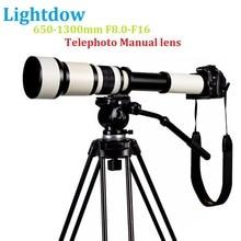 Lightdow 650-1300 f8.0-f16 super telefoto lente zoom manual + t2 anel adaptador para canon nikon sony pentax câmeras dslr