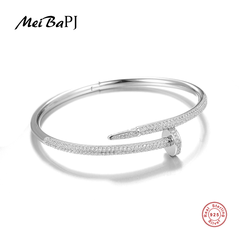 [MeiBaPJ] Stylish Classic Nail Bracelet S925 Pure Silver AAA Zircon Bangles For Women Fine Jewelry 3 Co'lo'r's