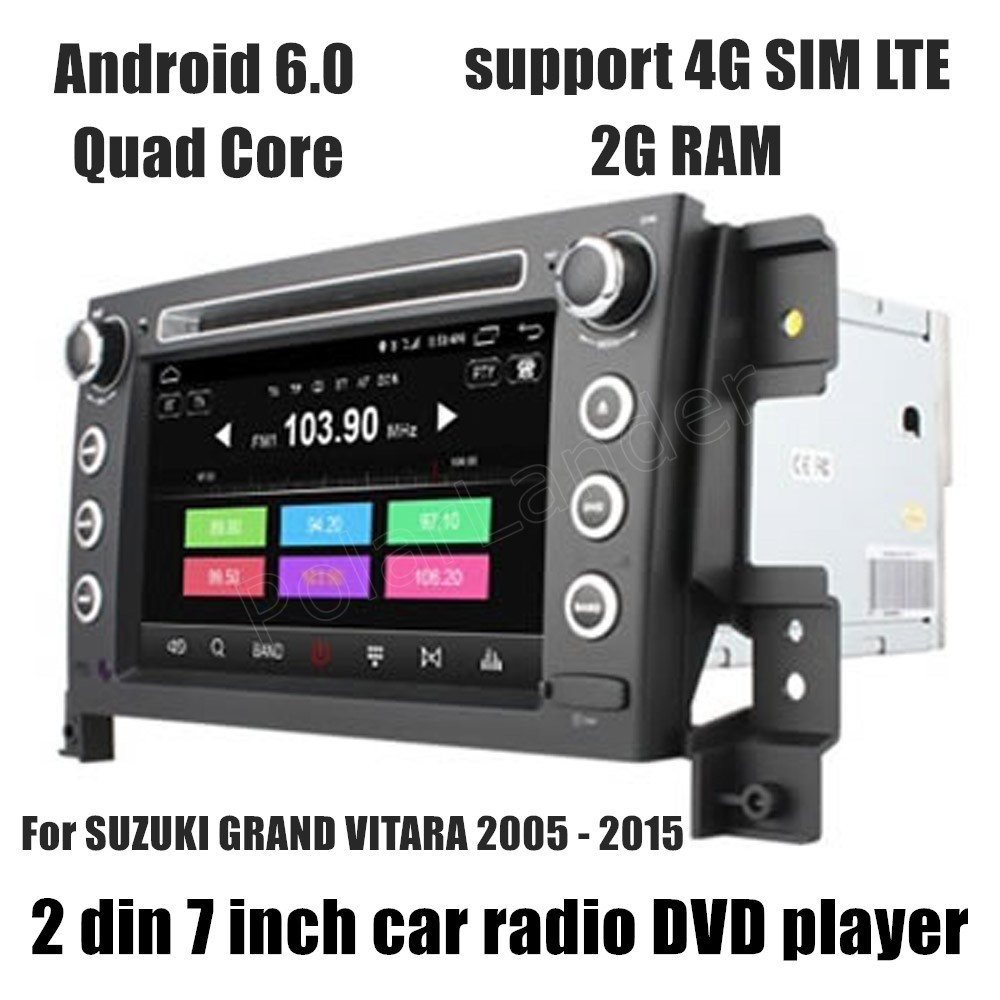 2 Din 7 inch Car DVD Player Android 6.0 GPS Radio For S/UZUKI G/RAND VI/TARA 2005-2015 WIFI touch screen