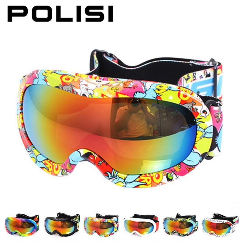 Polisi niños nieve snowboard gafas de esquí al aire libre de doble capa anti-vah