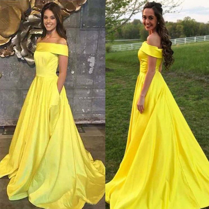 Off The Shoulder Prom Dresses With Pocket A-line Vestido De Noite Yellow Satin Elegant Long Prom Gowns Simple Formal Party Dress