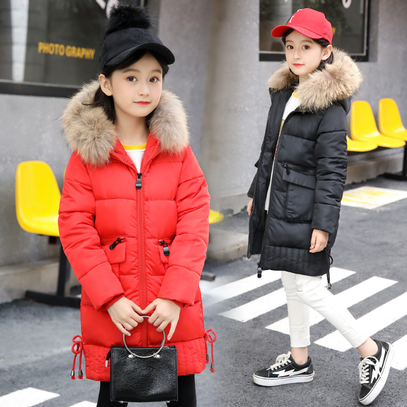 Children's Winter big fur hooded Warm parkas Cotton-padded Jacket Cotton-padded Clothes Winter Jacket Park for Teenagers girl все цены