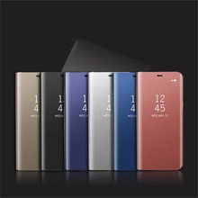 Fashion Flip Leather Cover for MI 9 Stereo Bracket Plating Mirror Smart Sleep Mobile Phone Cases Redmi Note 7 Case