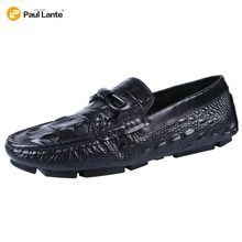 2017 Men's New Casual Crocodile Genuine Leather Boat Shoes Slip-on Velet Loafers Moccasin Fashion Flat Shoes Men's Loafer Shoes