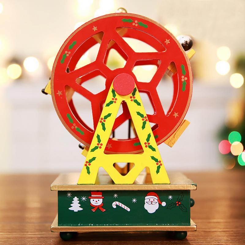 Christmas Ferris Wheel Music Box.Wooden Toy Christmas Theme Simulation Cartoon Ferris Wheel