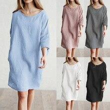 S-5XL Women Plus Size Midi Shirt Dress Loose O-neck Vintage Three Quarter
