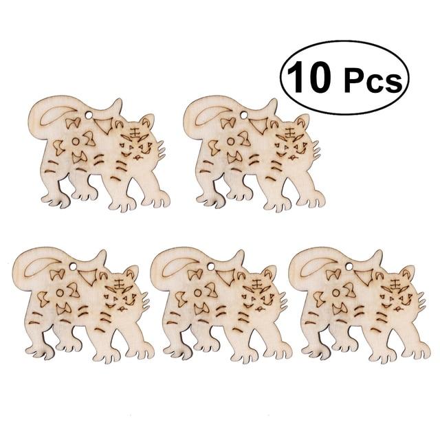 10 pcs unfinished wood chips cutouts wooden ornaments chinese zodiac
