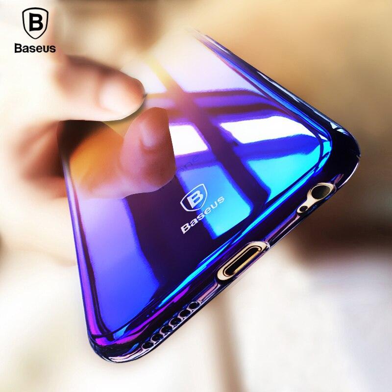 Baseus Originality Case For iPhone X 6s 7 8 plus luxury Aurora Gradient Color Transparent Case For iPhone 7 8 Plus Hard PC Cases