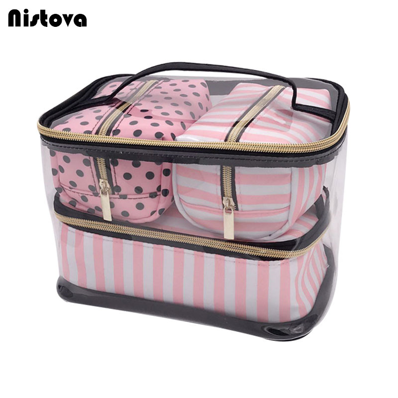 PVC Transparent Cosmetic Bag Travel Toiletry Bag Set Pink Make-up Organizer Pouch Makeup Case Beautician Vanity Necessaire Trip msq make up bag pink and portable cosmetic bags for professional makeup artist toiletry case new arrival