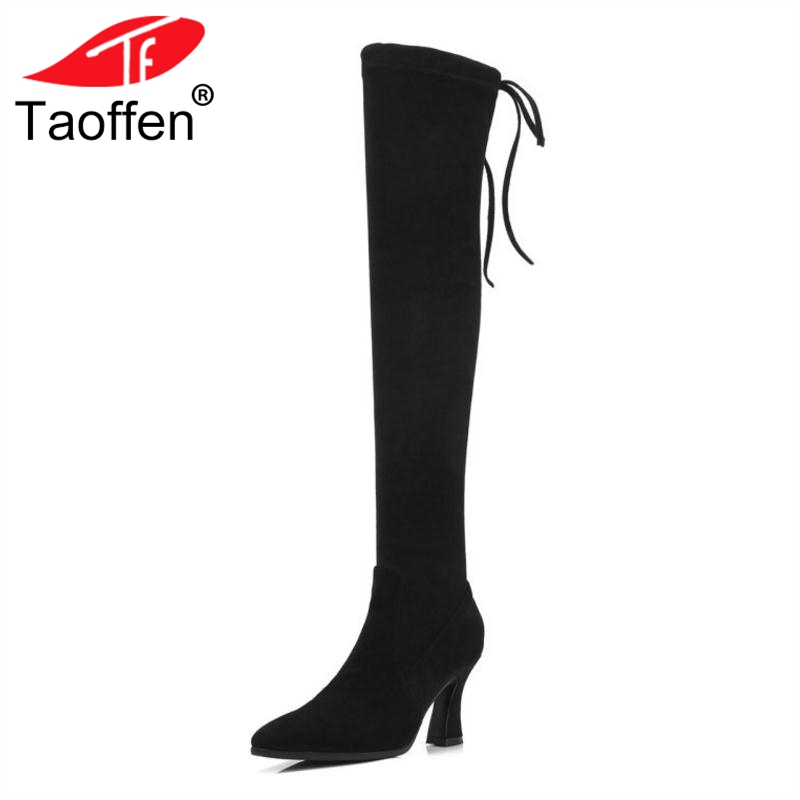 TAOFFEN Size 33-40 Women Over Knee Boots Real Leather Side Zipper Shoes Woman Cross Strap Bowknot Long Boots Winter Shoes side bowknot embellished plus size sweatshirts page 8