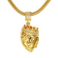 Male Hip Hop Fashion Lion Head Pendant Necklaces Rhinestone Design 29inch Long Chain Filling Pieces Men