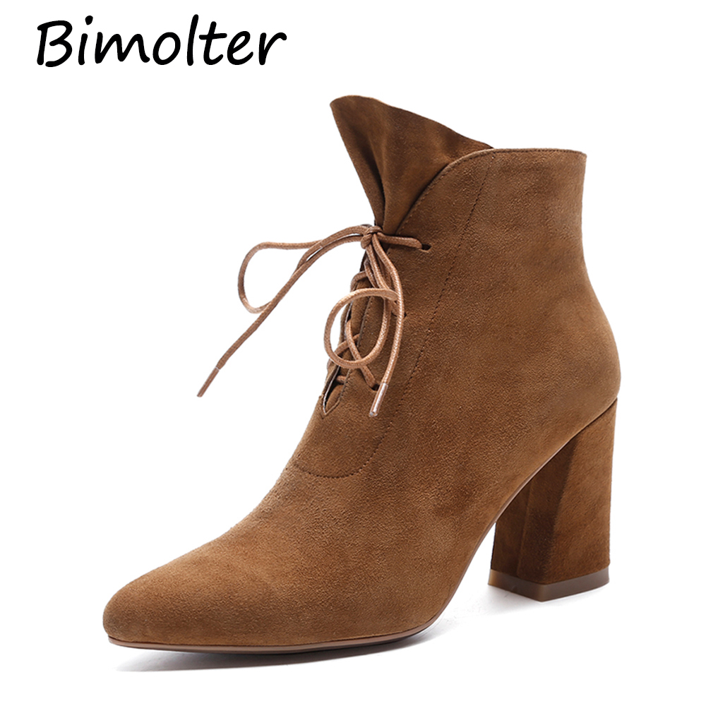 Bimolter Winter Warm Female Kid Suede Ankle Boots Genuine Leather Woman Classic Chelsea Boots Pointed Toe High Heel Shoe LAEB012Bimolter Winter Warm Female Kid Suede Ankle Boots Genuine Leather Woman Classic Chelsea Boots Pointed Toe High Heel Shoe LAEB012