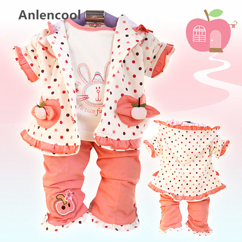 ФОТО Anlencool 2017 Free shipping  Spring and Autumn 3pcs dot small apple girls' suits baby clothing girl's set clothing