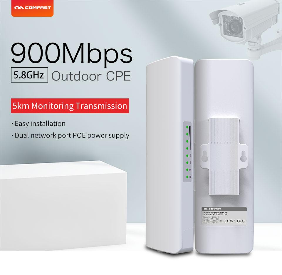 New ! COMFAST Long Range 5KM Outdoor Wireless AP Router Wi-fi Bridge 900Mbps 5.8Ghz WIFI CPE 12dBi WI-FI Antenna Nanostation AP