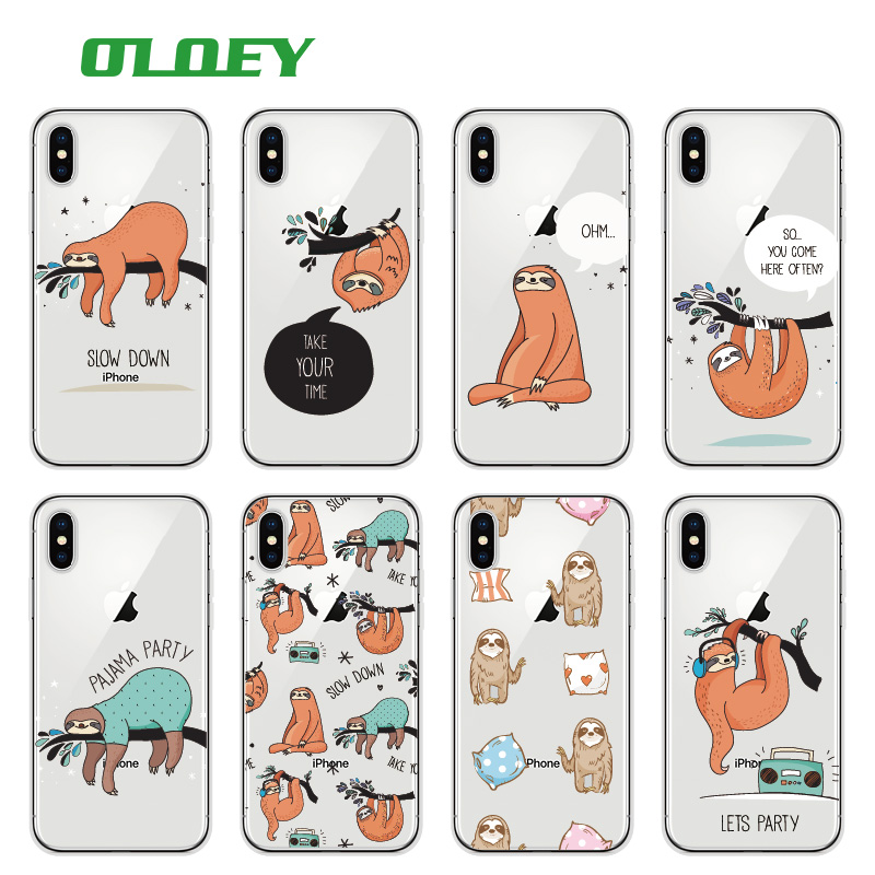 Galleria fotografica OLOEY For iPhone 5SE 6S 7Plus 7 8 8Plus X XS Max Samsung Galaxy Sloth Cute Animals Soft Silicon Transparent Printed Phone Case