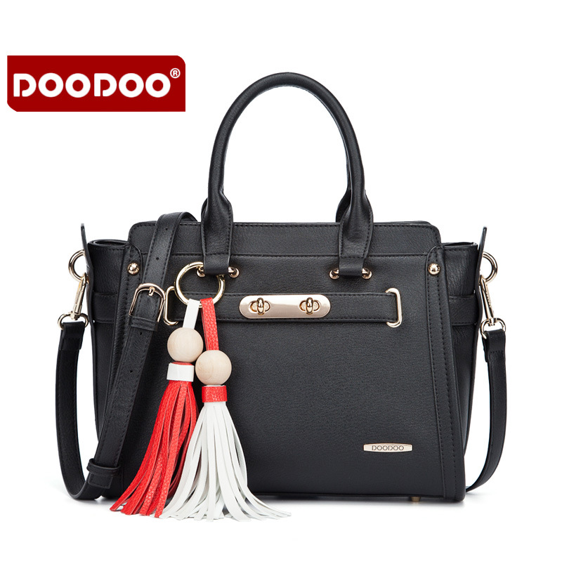 Doodoo bags 2017 women's cross-body handbag portable one shoulder fashion women's tote bag with tassel Designer fashion Handbags aosbos fashion portable insulated canvas lunch bag thermal food picnic lunch bags for women kids men cooler lunch box bag tote