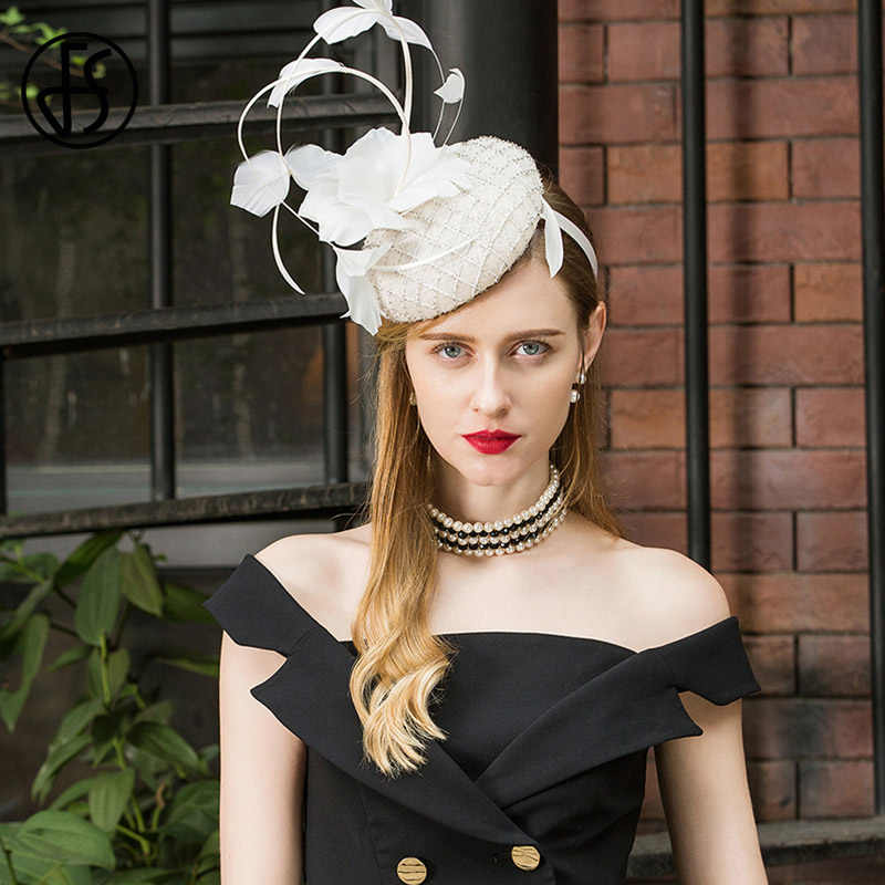2019 Ladies Fascinators For Wedding Hats White Women Elegant Church Tea Party Hat Cocktail Sinamay Derby Vintage Flower Fedora