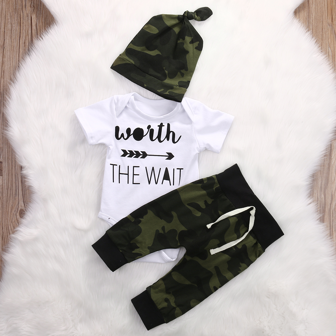 Voberry Newborn Infant Baby Girl Letter Romper Tops+Heart Pants Hat 3pcs Autumn Winter Clothes Set Outfit for 0-18 Months