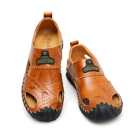 Misalwa 38 48 Handmade Sewing Glue free Men Casual Leather Shoes Summer Male Sandals Father Elder Senior Soft Footwear Outdoor