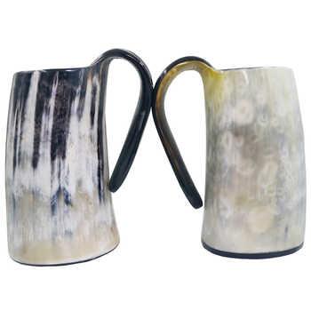 100% Natural Hand Made Ox Buffalo Horn Mug Viking Drinking Mugs Beer Drinking Horn Mug