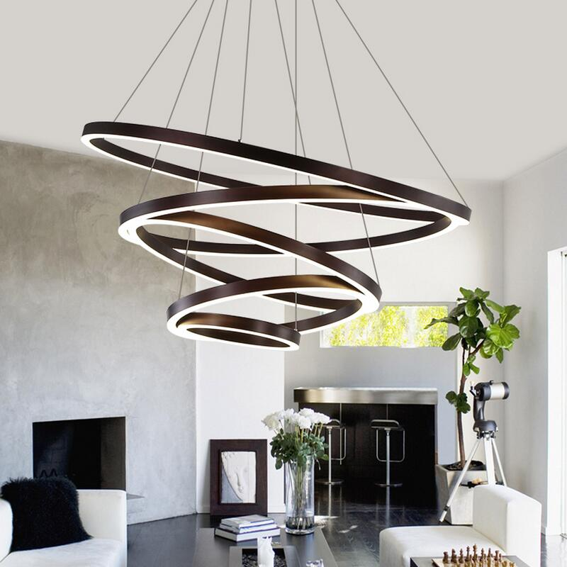 buy led modern chandelier lighting lustre ring chandeliers 110v 220v lamps for. Black Bedroom Furniture Sets. Home Design Ideas