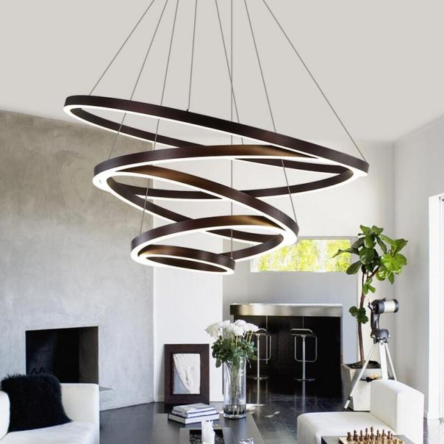Led modern chandelier lighting lustre ring chandeliers 110v 220v lamps for home living room
