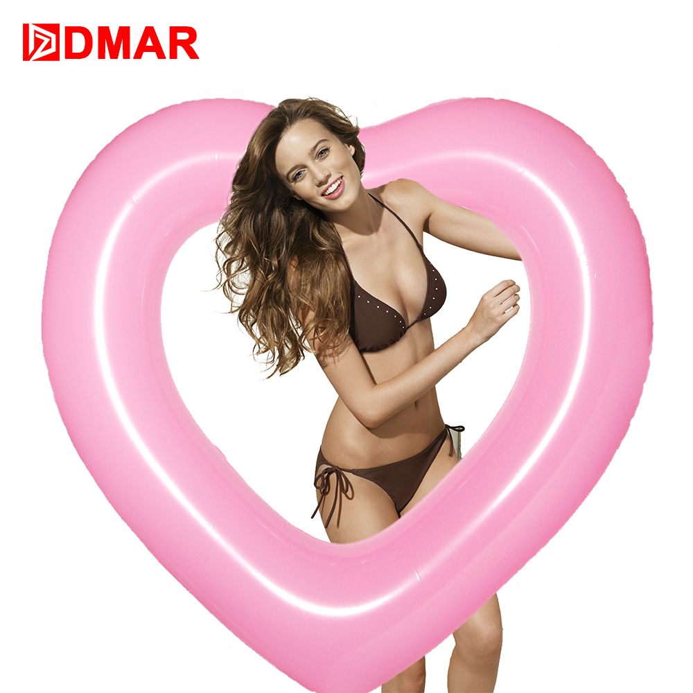 DMAR Inflatable Heart Swimming Ring Pool Float 110cm Giant Mattress Swimming Circle Adult Beach Summer Water Game Party Toy New
