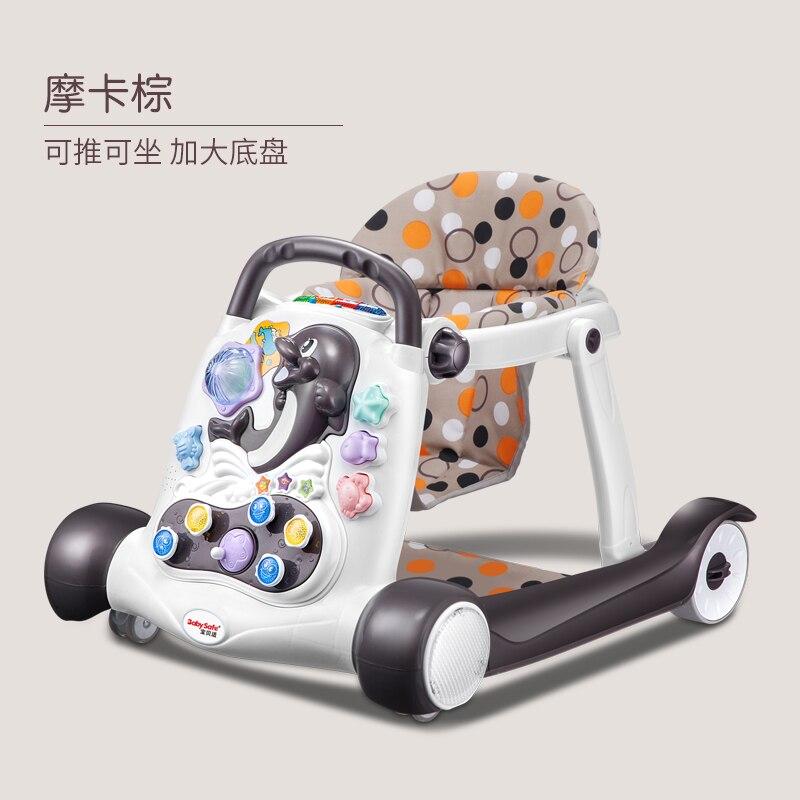 7-18 mois bébé marcheur anti-retournement multi-fonction avec musique bébé pousser peut s'asseoir peut supporter enfants marcheur roue de réglage