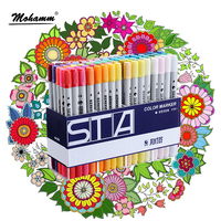STA 12 24 36 48 80 Colors Watercolor Dual Tips Marker Pen Set For Painting Coloring