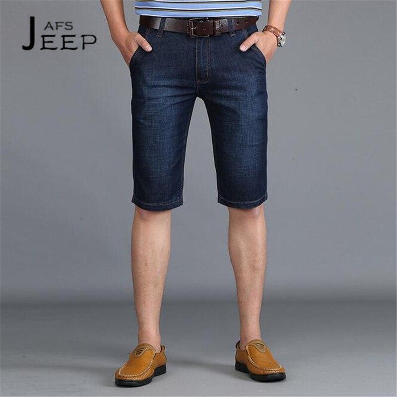 JI PU Calf Length Summer Mans Denim pant,Mid Waist Water washed Cotton Original Brand Straight Dark Blue Casual Short Jeans