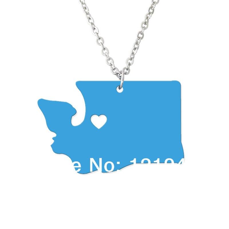 Custom Map Necklace -I heart Washington Map Pendant - State Charm WA Map Heart necklace-Personalized jewelry