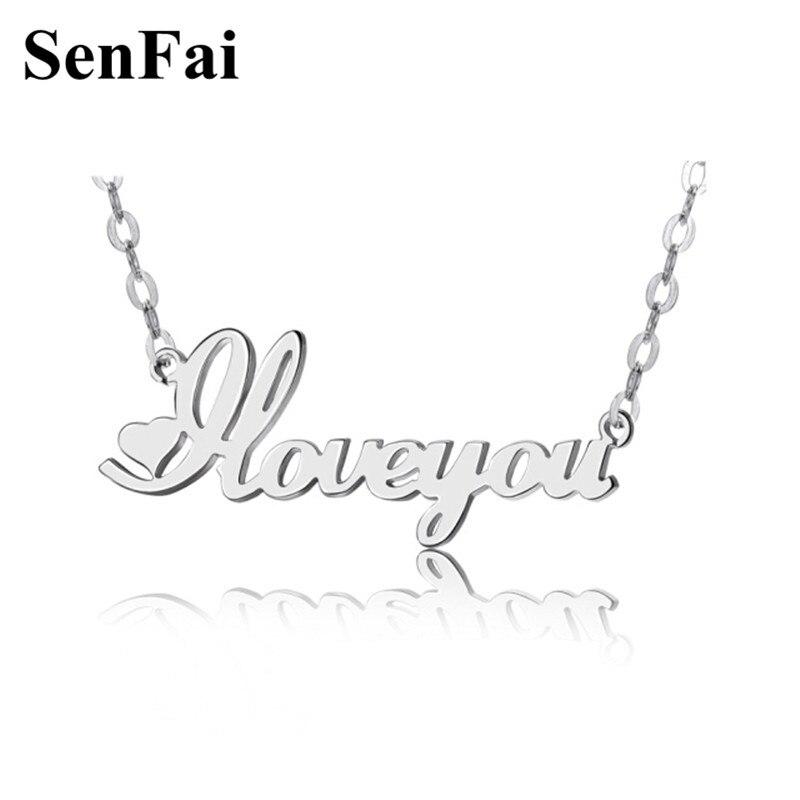 eba3b75228f0 Senfai personalizado nombre COLLAR COLGANTE para Mujeres Hombres niñas  cadena ajustable oro plata ...
