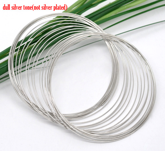 DoreenBeads Steel Wire Memory Beading Bracelets Components Round Silver Color 6.5cm(2 4/8