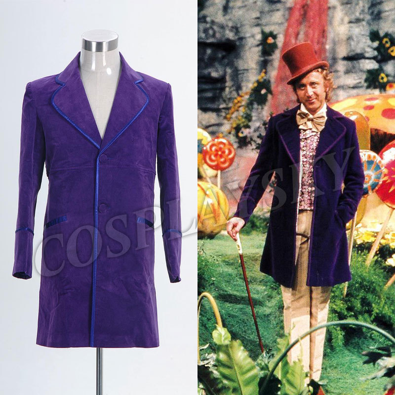 Willy Wonka and the Chocolate Factory 1971 Jacket cosplay Costume Purple Coat for Man Woman Adult