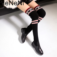 Luxury Brand Socks Boots Women Over The Knee High Boots Autumn Winter Knitted Shoes Long Thigh High Boots Elastic Slim Size33 43