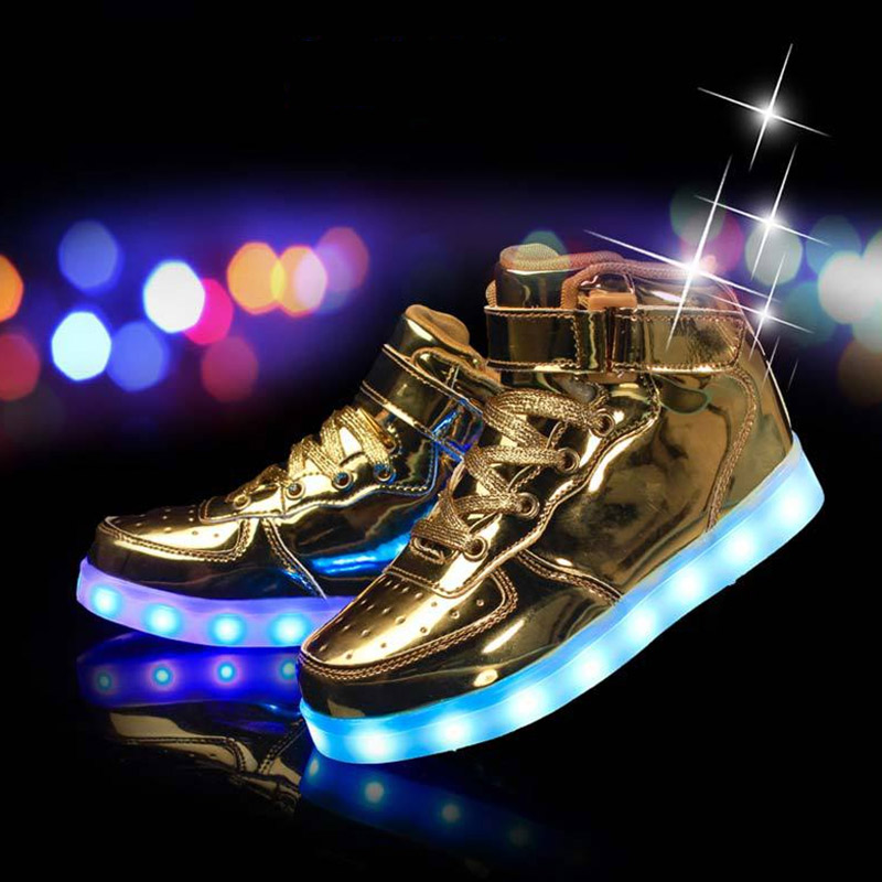 Children Leisure Sports Shoes 2018 New LED Light Colorful Kids Lamp USB Fashion Light Up Shoes Hook&loop Casual Ankle Unisex fashion bright solid usb led light up kid shoes breathable hook