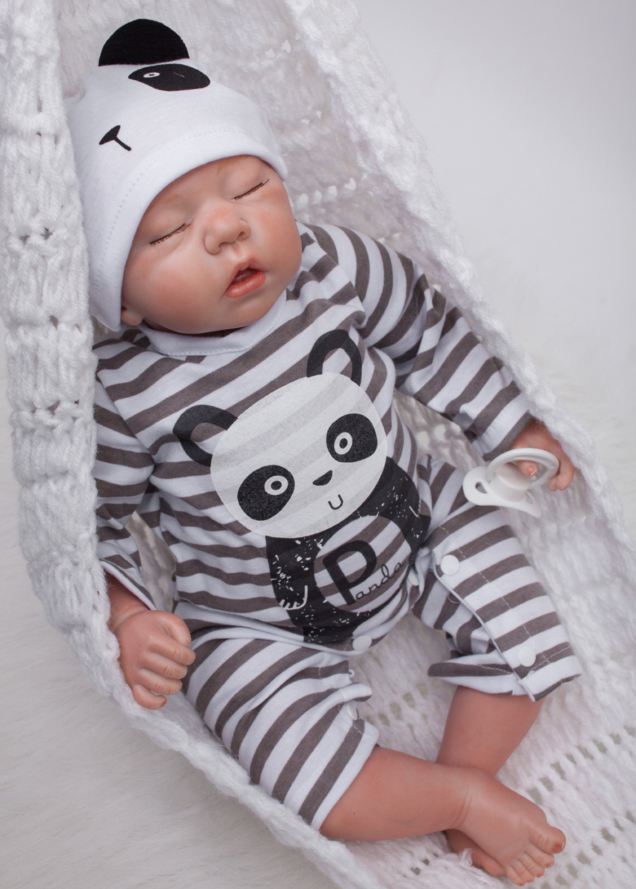22 Inch Baby Dolls Lifelike Reborn Babies Doll with Panda Clothes Sleeping Silicone Children Toy with Hair Kids Birthday Gift short curl hair lifelike reborn toddler dolls with 20inch baby doll clothes hot welcome lifelike baby dolls for children as gift
