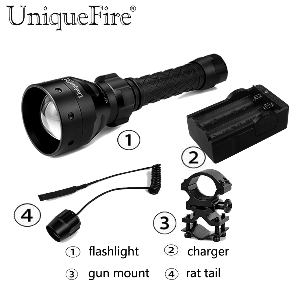 UniqueFire 1406 Cree q5 Lamp Torche Single File Zoom Focus Led Flashlight - Rat Tail - Gun Mount - Charger uniquefire 1406 flashlight cree q5 led flashlight torch adjustable focus zoom light lamp black color two slot charger