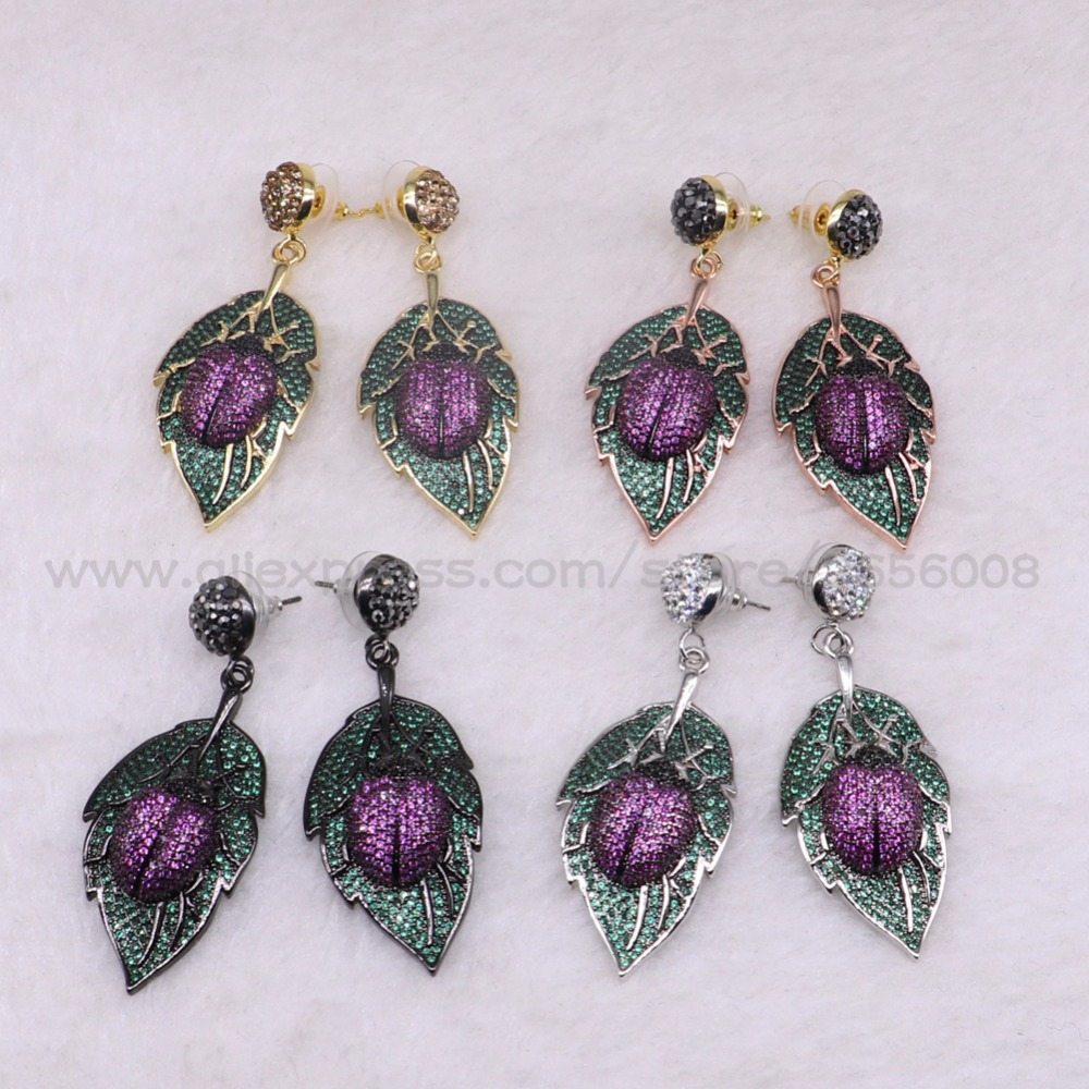 2 Pairs High Quality leaf shape Beetles earrings fashion earrings Mix color micro pave Cubic zircon inset  jewelry earrings 3301