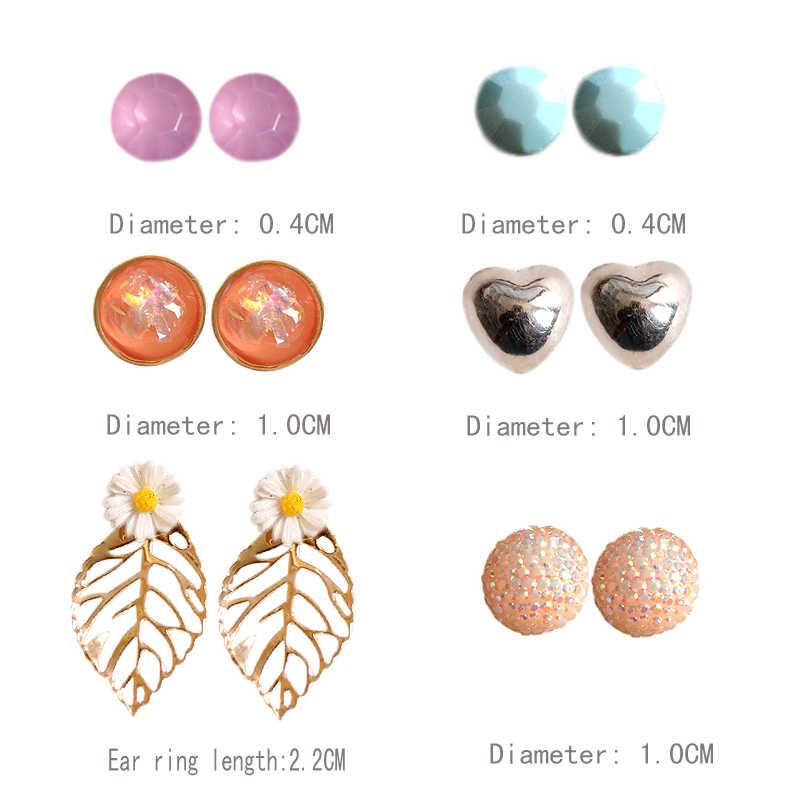 新しいファッションゴージャスな女性のジュエリー女の子誕生日パーティーパール耳爪ハート形グリーン粉末混合タイプ6ペア/ロットイヤリング