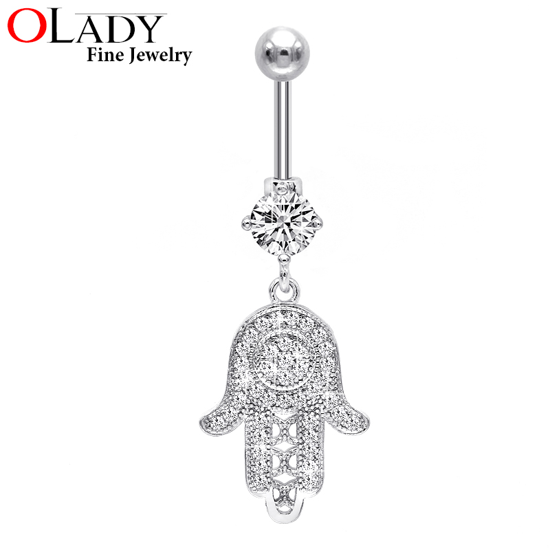 Belly button rings 2016 NEW Silver [ God hand ] Fashion Top Quality Navel piercing body jewelry Sexy CZ  belly piercing