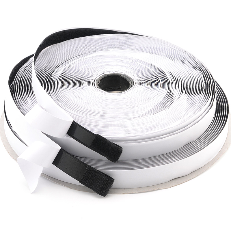 16/20/25/30mm*25Y Black/White Hook And Loop Self Adhesive Fastener Strong Tape Hook and Loop Strip Tape Home Decotation