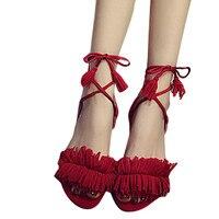 2017 Women Strappy Heels Pumps Sexy Wedding Wear Low Cut Cross Buckle Shoes Tie Tassel Low