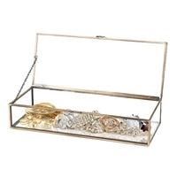 Decorative Clear Glass & Brass Tone Metal w/Hinged Top Lid Shadow Box Jewelry Chest/Storage Display Case